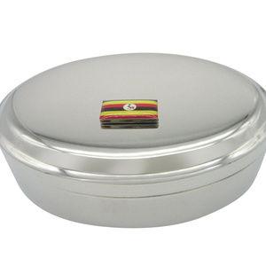 Uganda Flag Pendant Oval Trinket Jewelry Box